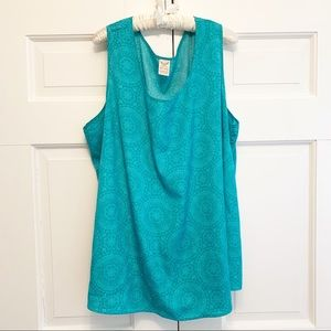 COPY - Printed Turquoise Blue Flowy Tank Top Plus…